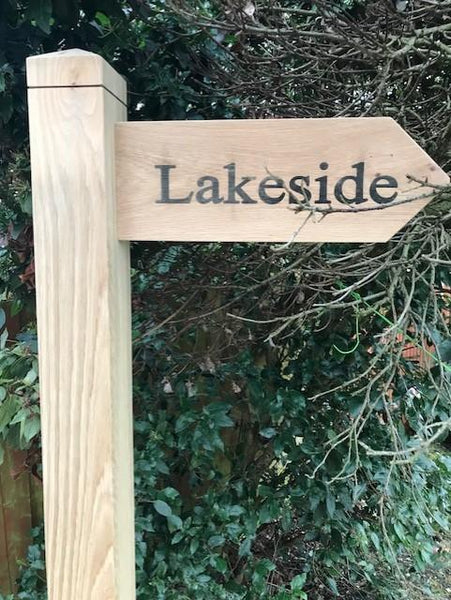 Large Engaved Oak Post Directional Sign (8 foot) Engraved with your choice of direction/Text