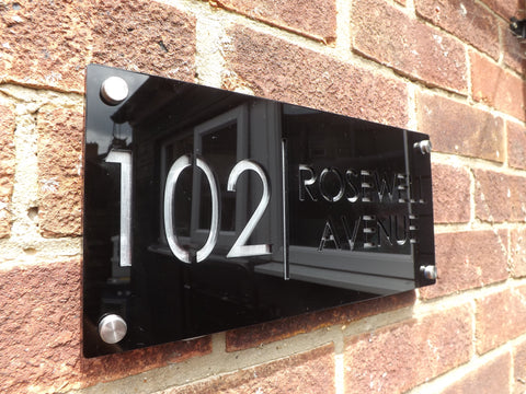 Engraved Acrylic Gloss Black Door Number and Street Name or House Name Sign