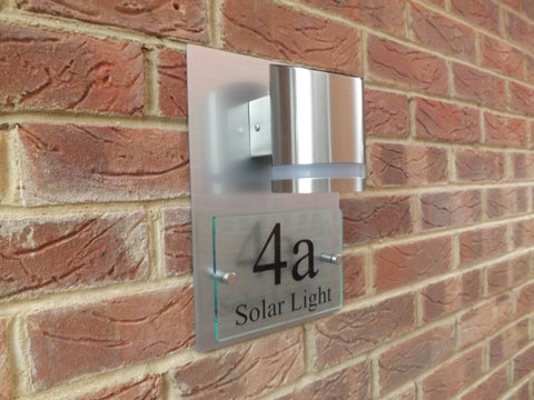 Modern Solar Powered Glass/Aluminium Effect House Sign