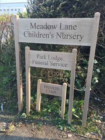 Freestanding Solid Oak Engraved Sign (Oak Posts included)
