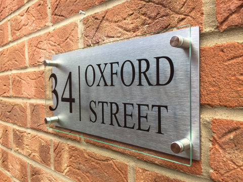 Glass Acrylic / Aluminium Large House Sign