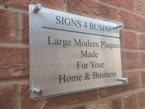 Glass Aluminium Effect Business / Commercial Sign Plaque A1 - A6 Sizes