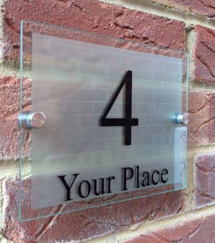Glass Effect Address Plaque - Silver Frosted
