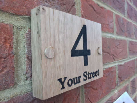 Solid Oak Door number and street House Sign Plaque 140mm x 100mm