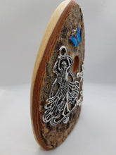 Load image into Gallery viewer, Wooden Organic Queen Fairy Door - Wings Closed with Turquoise Butterfly