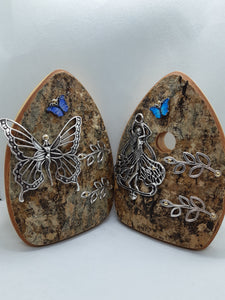 Organic Queen Fairy Door - Wings Closed with Turquoise Butterfly