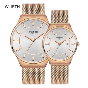 Couple Watch WLISTH Mens Watch Simple Luxury Quartz Wristwatch women Clock for Male Female Waterproof Lovers Thin Watch 2020