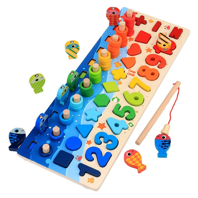 Kids Montessori Math Toys For Toddlers Educational Wooden Puzzle Fishing Toys Count Number Shape Matching Sorter Games Board Toy