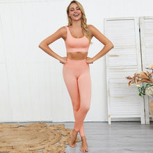 Load image into Gallery viewer, 2PCS/Set Seamless Fitness Women Suit High Stretchy Workout Sport Set Padded Sports Bra High Waist Sports Legging Gym