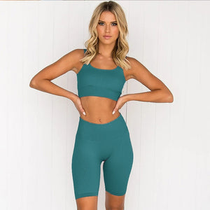 2PCS/Set Seamless Fitness Women Suit High Stretchy Workout Sport Set Padded Sports Bra High Waist Sports Legging Gym