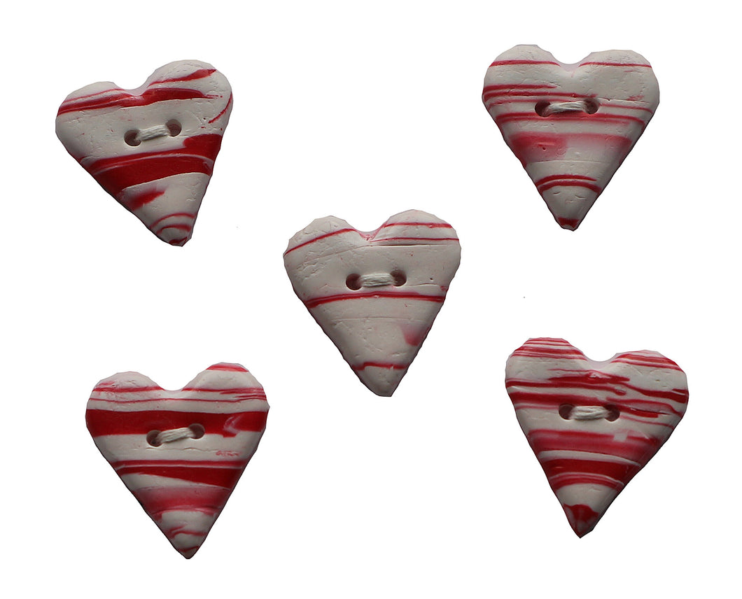 Buttons- 5 Small White & Red Hearts