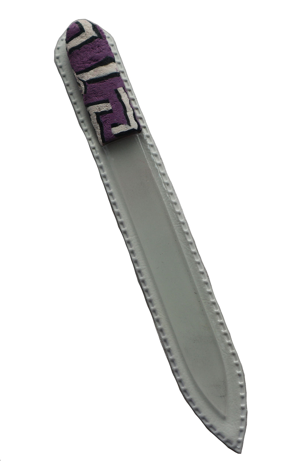Crystal Nail File-Large-Purple White Black Geometric Stripes