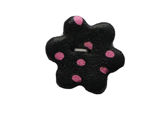 black with pink dots flower button