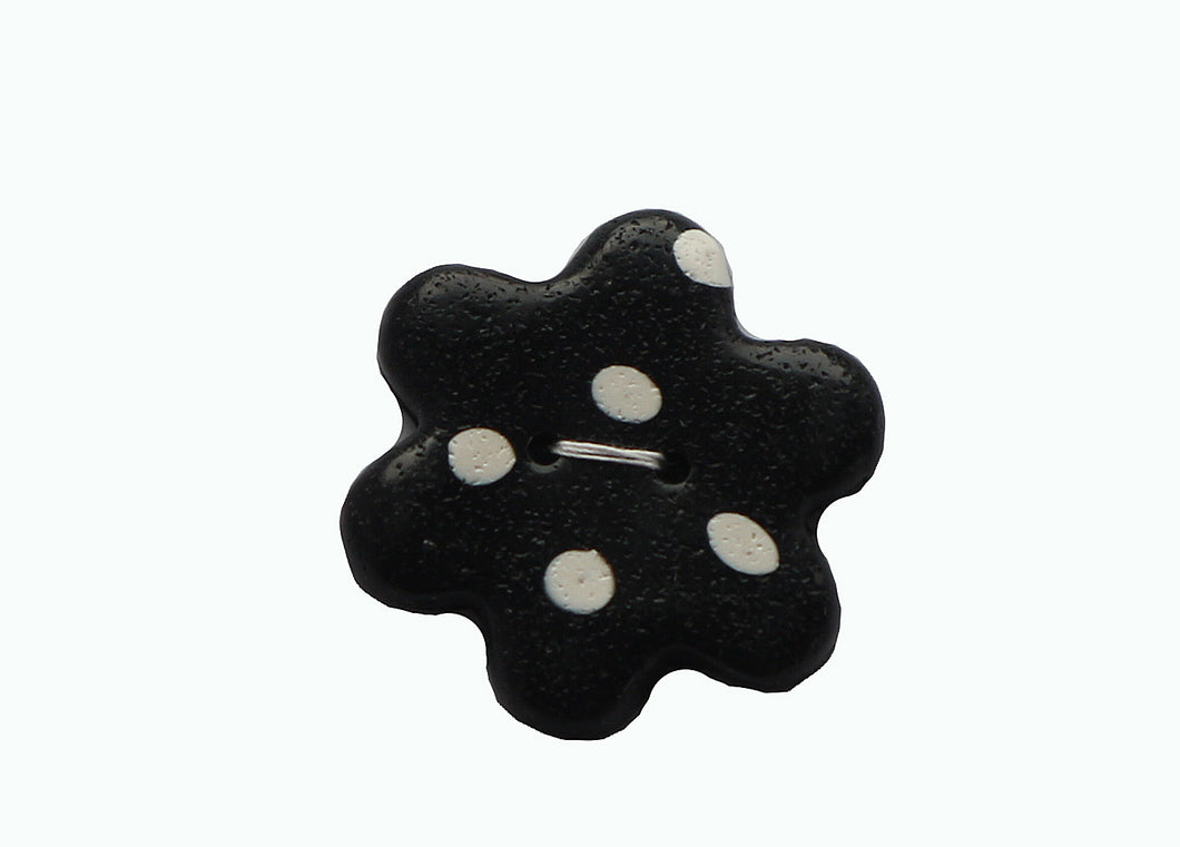 Buttons-Black Flower with White Dots