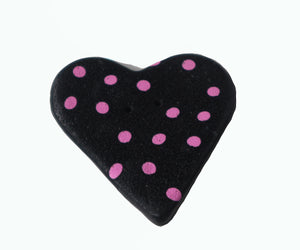 black heart shaped button with pink dots