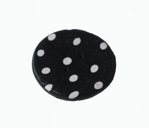 black with white dots round button