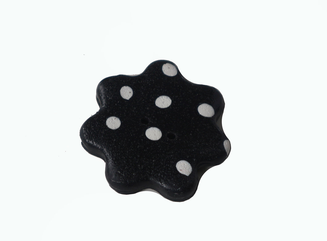 black with white dots flower button
