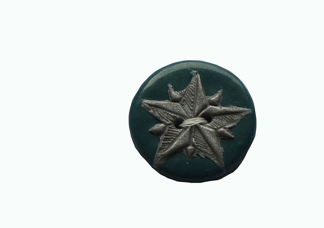 round green button with silver star