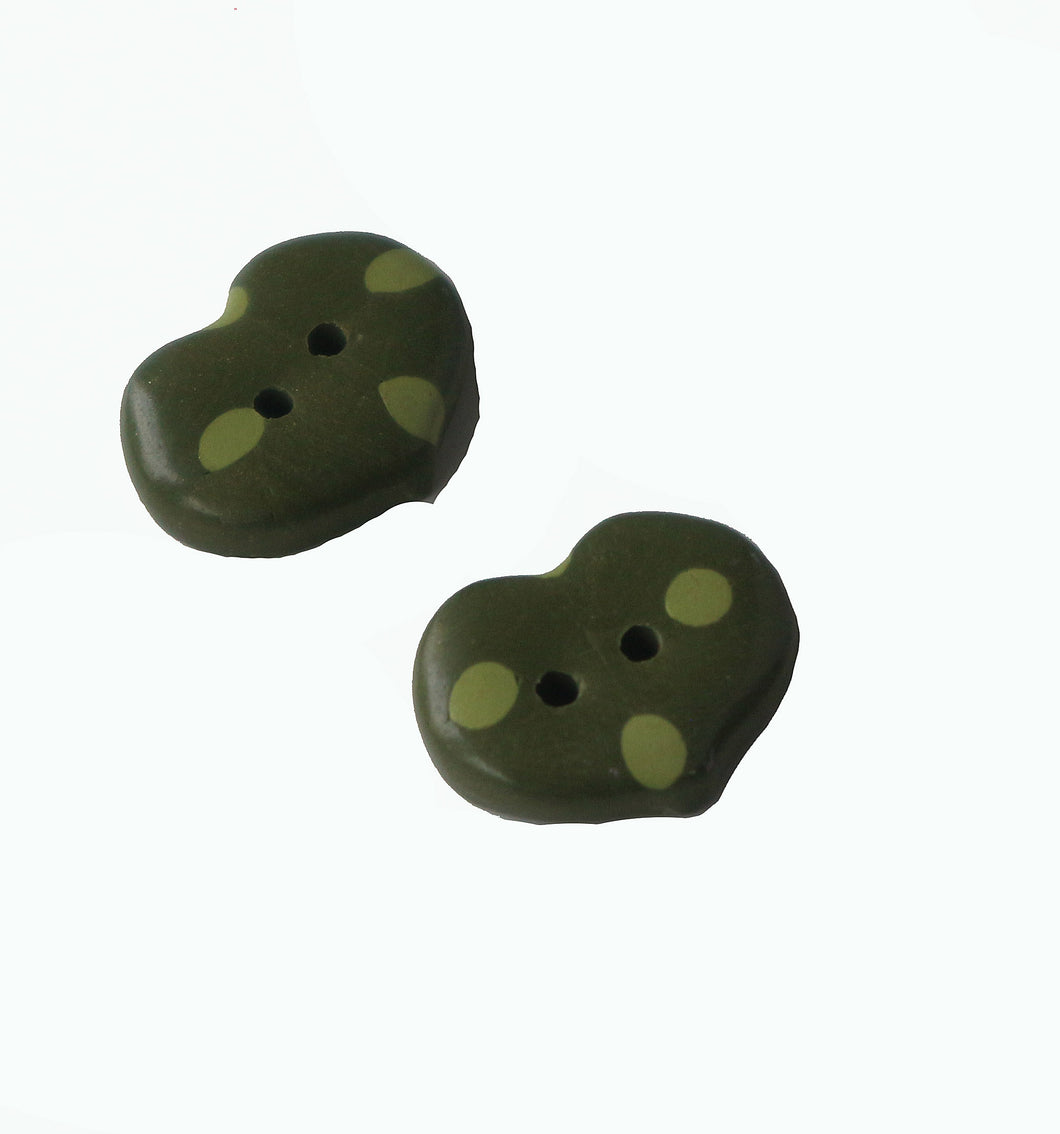 Buttons- 2 Green with Green Dots Hearts