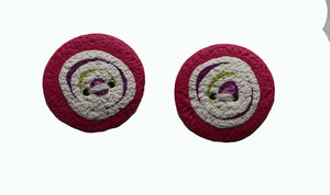 Buttons- 2 Round Pink with White Purple Swirl