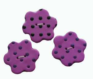 Buttons- 3 Flower Shaped Purple with Dots