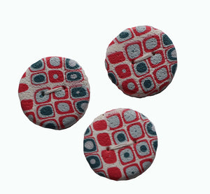 Buttons-3 Red White Blue Retro- Round