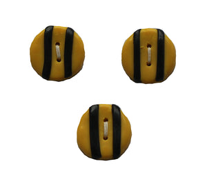 Buttons- 3 Small Round Yellow with Black Stripes