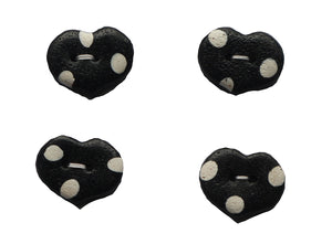 Buttons- 4 Black with White Dots Small Hearts