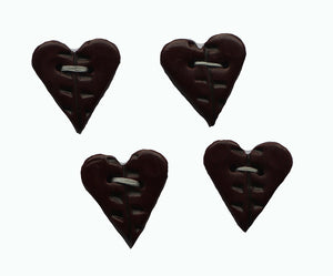 Buttons- 4 Small Burgundy Heart Shaped