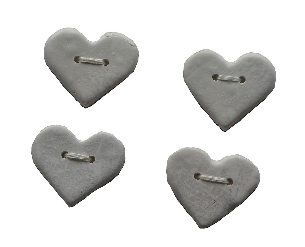 Buttons- 4 Medium White Hearts