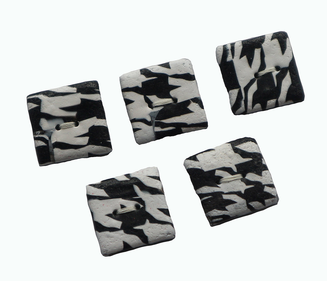 Buttons- 5 Black White Houndstooth Square