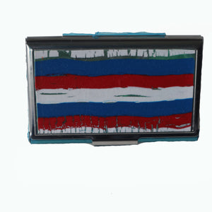 Stainless Steel Metal Credit Card & Business Card RFID Case-Red, White & Blue Stripes