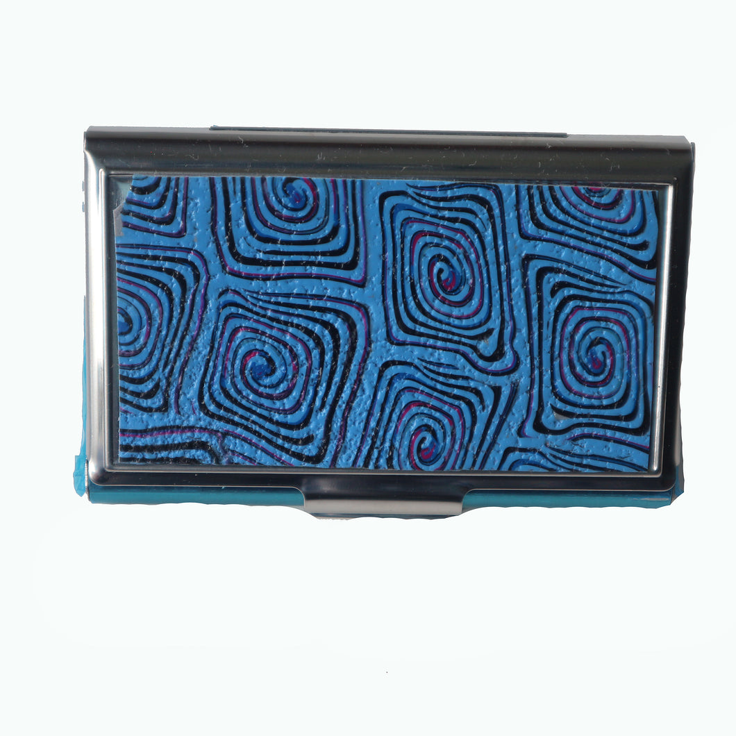 Stainless Steel Metal Credit Card & Business Card RFID Case-Blue Squares