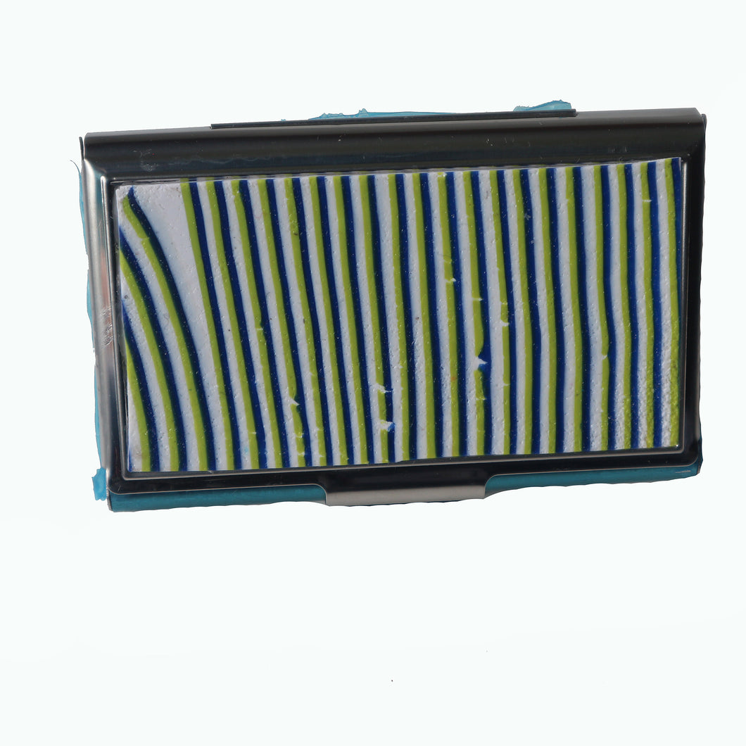 Stainless Steel Metal Credit Card & Business Card RFID Case-Green, White & Blue Stripes