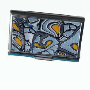 Stainless Steel Metal Credit Card & Business Card RFID Case- Blue, Yellow Sparkle