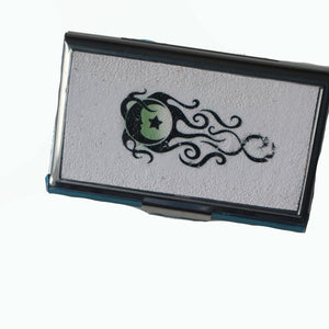 Stainless Steel Metal Credit Card & Business Card RFID Case- White with Moon & Stars