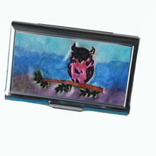 Load image into Gallery viewer, Stainless Steel Metal Credit Card & Business Card RFID Case- Owl at Sunrise