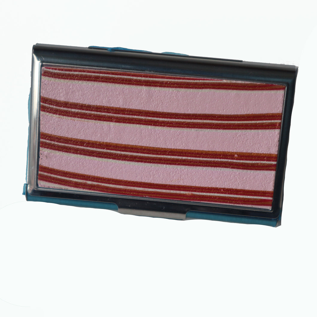 Stainless Steel Metal Credit Card & Business Card RFID Case-Pink, Red & Gold Stripes