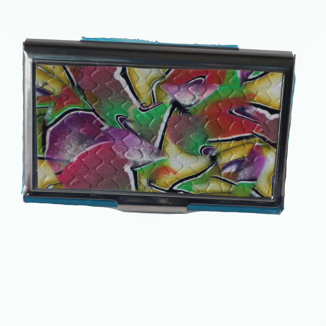 Stainless Steel Metal Credit Card & Business Card RFID Case- Purple, Pink, Yellow & Green Swirl