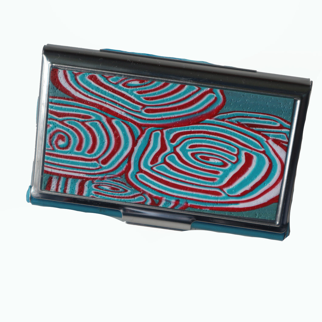 Stainless Steel Metal Credit Card & Business Card RFID Case- Turquoise & Red Swirl