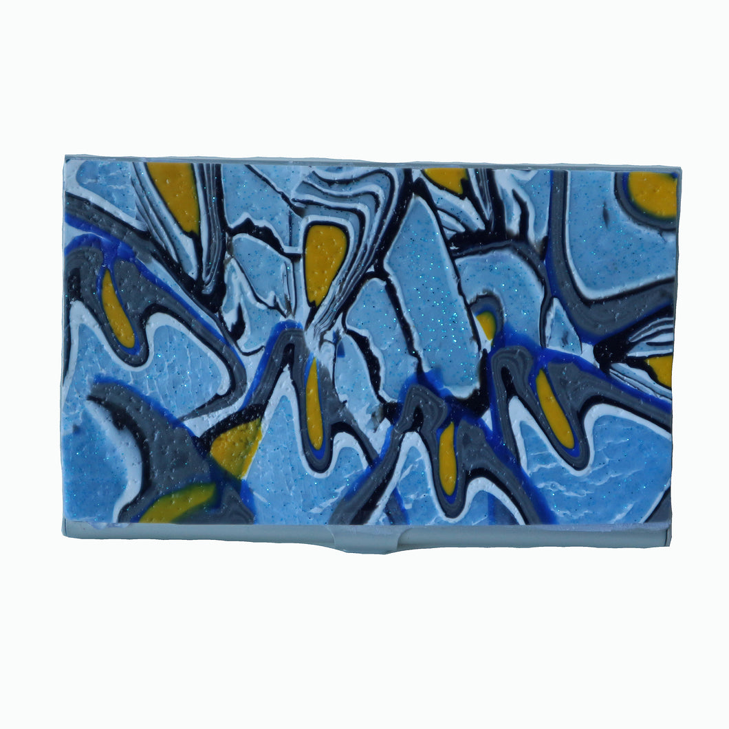 metal business card case- blue & yellow