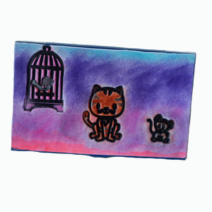 business card case- cat mouse bird