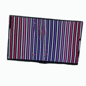 business card case- pink to purple stripes