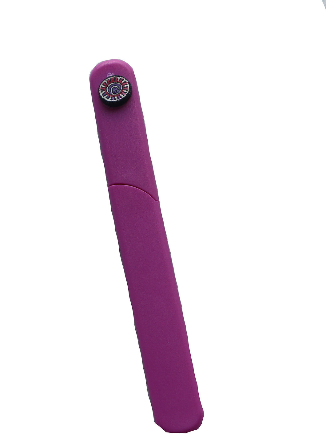 Hard Case Crystal Nail File Purple with Pink Purple Swirl