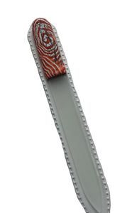 Crystal Nail File-Large-Orange & White Swirl