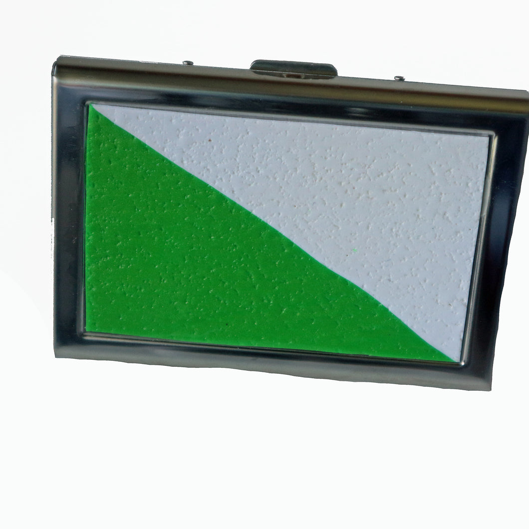 Wallet-Metal Wallet- Green & White Franco Colors