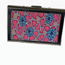 Load image into Gallery viewer, Wallet-Metal Wallet- Pink Flowers with Blue Flowers