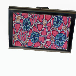 Wallet-Metal Wallet- Pink Flowers with Blue Flowers