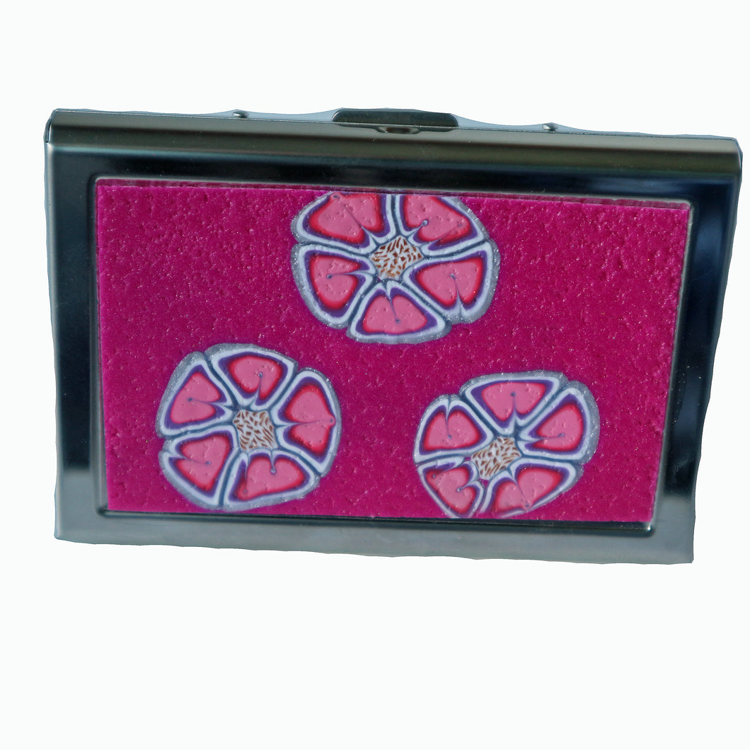 Wallet-Metal Wallet- Pink with Pink Flowers