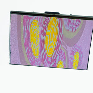 Wallet-Metal Wallet- Pink with Pink & Yellow Flowers